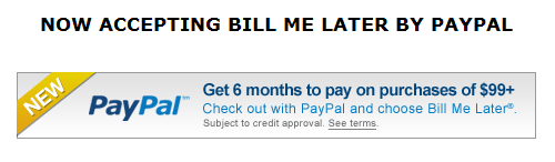 Bill me later bill me later with paypal now on all your pressure